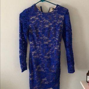 Blue lace body con dress